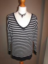 FRENCH CONNECTION Ladies Navy Blue White Striped Sweater Semi Sheer Back Size  M