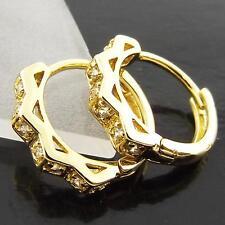 FSA019 GENUINE REAL 18K YELLOW G/F GOLD LADIES DIAMOND SIMULATED HOOP EARRINGS