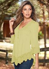 New Fashion Women Summer Long Sleeve Shirt Casual Blouse Lace Loose Tops T Shirt