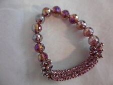 Purple Faceted Glass Bead & Austrian Crystal Bracelet (Stretchable)