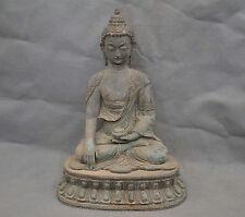 "13"" China Old Tibetan Buddhism Lotus Shakyamuni Buddha Bronze Statue"