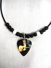 1956 ELVIS PRESLEY PHOTO PLAYING CLASSIC GUITAR PICK PENDANT ADJ BEADED NECKLACE