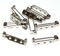 SP123 Jewelry Pin Back Straight Bar 1-Inch Silver Nickel Plated Steel 10pc
