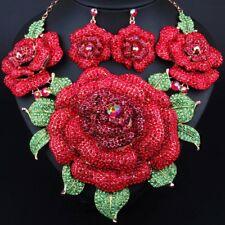 AMAZING RUNWAY DESIGNER BEYOND MASSIVE RED CRYSTAL FLOWER NECKLACE +EARRINGS SET