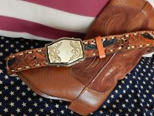 NEW THICK TAN  LEATHER MEXICAN  BELT + GOLD METAL BUCKLE EMBOSSED WESTERN COWBOY