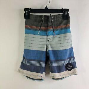 Quiksilver Swell Vision Blue Gray Striped Beach Swim Board Shorts Boys Size 4