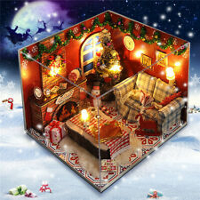 DIY Wooden Doll House Furniture Kits LED Light Miniature Christmas Room Puzzle T