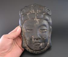 Old Chinese Han Dynasty jade stone Hand-carved Kwan-yin Buddha Mask 858g