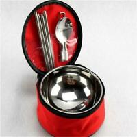 Outdoor Stainless Steel Bowl Chopsticks Spoon Portable Travel Set Tableware Q