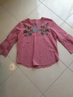 Women's NWT Andrew Marc New York Blouse Size L Red Gingham Check