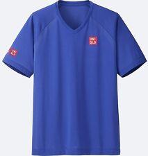 UNIQLO x Kei Nishikori 2017 Australian Open Mesh V-Neck Athletic Shirt M BLU NWT