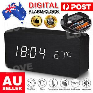 Digital LED Desk Table Alarm Clock Wooden Temperature Alarm Modern Home Decor AU