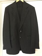 SAXONY HALL CLOTHES Suit 38 R 100% WOOL Classic condition Two button Black Gray