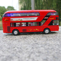 Bus Model Cars 1/48 Tour London Double Decker Diecast Sound&Light Toy Gift Red