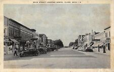 Clark Michigan~Main Street~Looking North~Bicknell's~Davy's~Hardware~1930s Cars