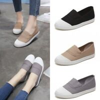 Women Fashion Girls Casual Slip On Breathable Canvas Shoes Flats Loafer Sneakers