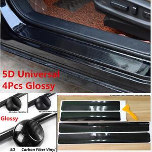 4x 5D Carbon Fiber Car Accessories Door Sill Panel Scuff Plate Protector Sticker