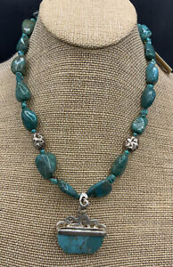 Barse Gossamer Necklace-Turquoise & Matte Sterling Silver- NWT