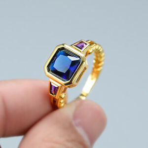 14k Yellow Gold Plated Square Cubic Zirconia Ring for Women Men
