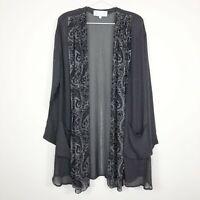 Platinum By Dorothy Schoelen Women's Gray Printed Sheer Long Cardigan Top Medium