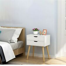 Bedroom Floor Storage Cabinet Nightstand Bedside Table Locker Double Drawer