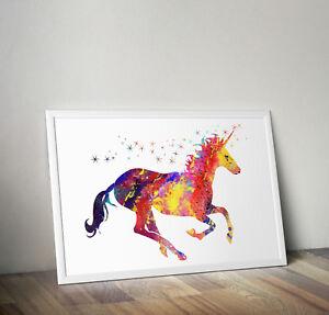 Unicorn print, poster, picture, wall art, gift, home decor, watercolour