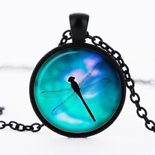 BLUE DRAGONFLY PENDANT NECKLACE / Chain Glass Jewellery Gift Idea Boho Insect