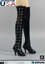 """1/6 Over the Knee Lace Up High Heel Boots HOLLOW For 12"""" PHICEN Female Figure"""