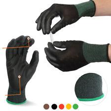 10 Pairs Work Gloves Black Ultra Thin Safety Polyurethane Coated Nylon Shell