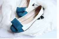 BOW FLATS SHOES GIRLS WOMEN WHITE ORANGE BLUE BLACK FOOTWEAR SIZE 3 4 5 6 7 UK
