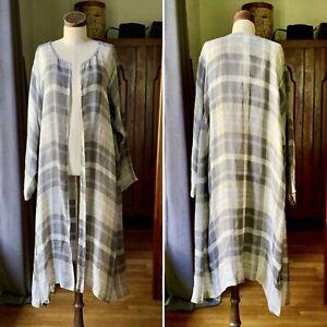 Rare ESKANDAR 3/4 Length Side Pleated Round Neck Coat Gauze LINEN Check Sz 1
