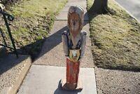 LARGE Antique Martha Washington Folk Art Wood Carved Statue 4' Tall Primitive