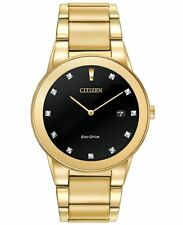 Citizen Eco Drive AU1062-56G Mens Axiom Dress Black Diamond Dial 40mm Watch
