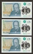 3 x 2016 England £5 Pounds First Polymer With  Early Prefix AB Uncirculated