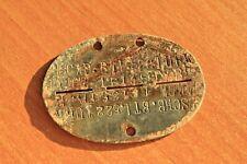 WW2 GERMAN Nachschub Bataillon 522 TURKMENIAN JANOW ID DOG TAG ORIGINAL TOKEN !