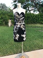 Julian Joyce By Mandalay BLACK OVER LACE DETAIL SWEETHEART CUT DETAIL DRESS Sz 4