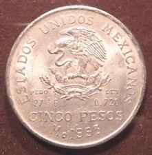 SILVER COIN OF CINCO PESOS MEXICO - YEAR 1953