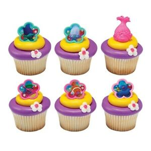 Trolls True Colour Rings cake topper cupcake decoration sugarcraft party