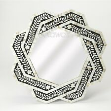 Indian Luxury Butler Bone Inlay Black And White Mother Of Pearl Wall Mirror