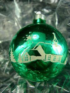 "Antique Shiny Brite Ornament ~1940 K&W GREEN w CHURCH, STARS, TREES 2.25""  NICE"