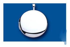 Sterling Silver Round Locket Plain 22mm 925 Hallmark All Chain Lengths