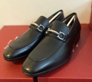 Salvatore Ferragamo Benford Gancini Black Leather Loafers Shoes Size 9.5EE NIB