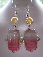 Sterling silver Pink Botswana Agate Gemstone Pearl Dangle Earrings