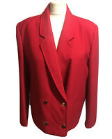 PLANET VTG 90s Women's UK 14 Red Boxy Tailored Blazer Jacket Pure New Wool