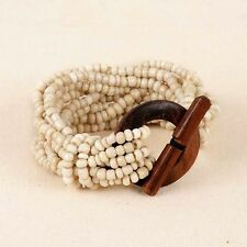 Cream Bracelet Stretch Beads Wood Toggle New Pink House 10-Strand