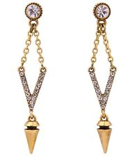 GOLD SILVER BULLET ARROW Diamante Crystal Rhinestone Gold Tribal Drop Earrings