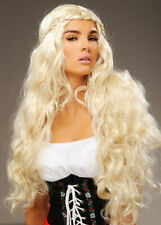 Womens Oktoberfest Long Blonde Curly Bavarian Wig