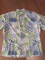 Cooke Street Honolulu 2X Hawaiian Shirt Aloha Blue Green 100% Cotton XXL