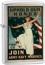 Zippo Vintage War Poster Bond Uphold Our Honer Lighter Brushed Chrome 29599 NEW