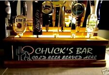 Walnut F. Beer Tap handle display holds 18 personalized Wolf/Cactus Neon Style